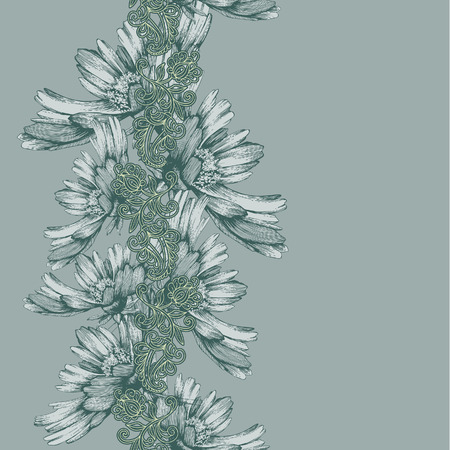 Seamless vertical pattern of decorative flowers hand-drawing. Vector illustration.