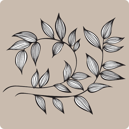 Decorative branch with leaves, hand-drawing illustration. Иллюстрация