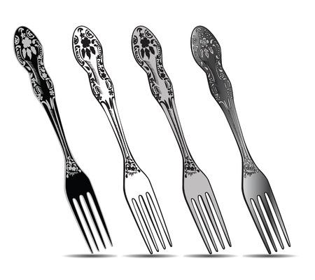 Cutlery, silver fork set. Vector illustration.
