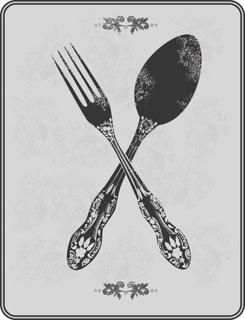 Vintage menu, spoon and fork. Vector illustration. Иллюстрация