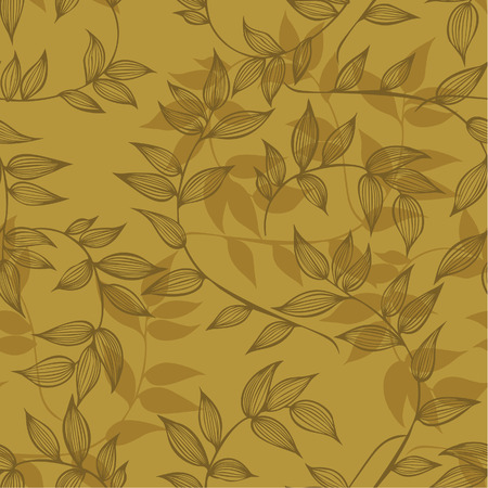 Seamless pattern of branches with leaves, hand-drawing. Vector illustration. Иллюстрация