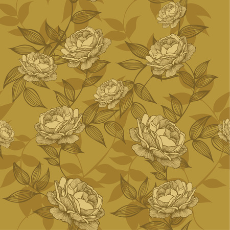 Seamless wallpaper with floral ornament and roses. Vector illustration.