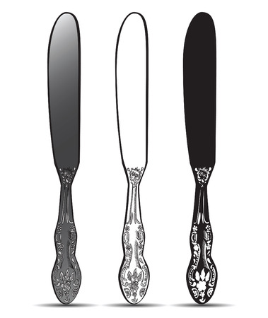 weaponry: Cutlery, vintage silver knife. Vector illustration. Illustration