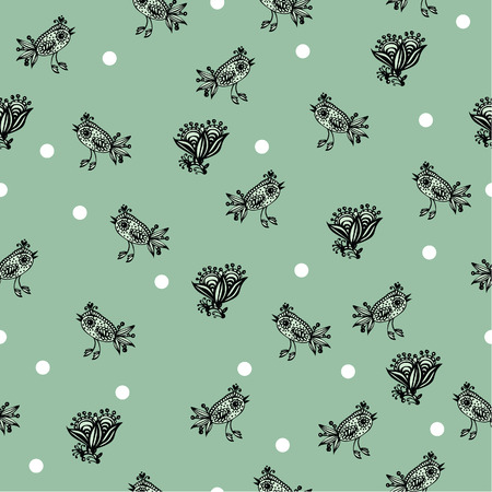 Seamless background with decorative birds, hand-drawing. Vector illustration.