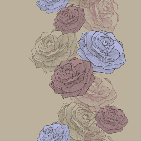 Vector illustration. Seamless wallpaper with blue and pink roses, hand-drawing.