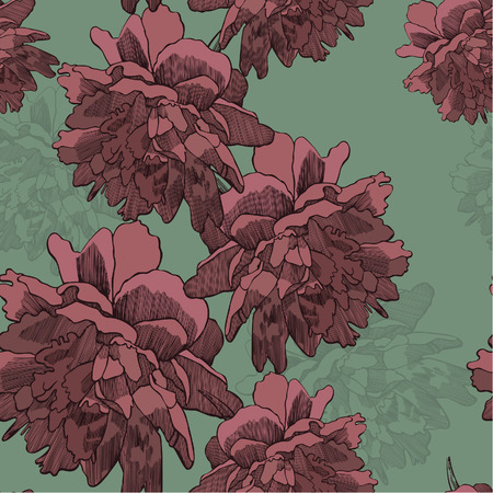 Seamless wallpaper with blooming peonies, hand-drawing. Vector illustration.
