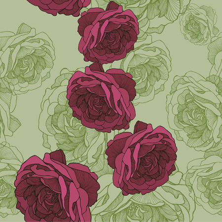 tea rose: Seamless wallpaper with rose tea, hand-drawing. Vector illustration.