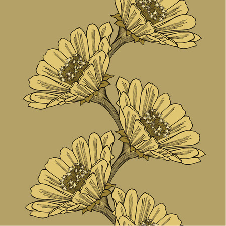Seamless background with flower zinnia, hand-drawing. Vector illustration. Иллюстрация