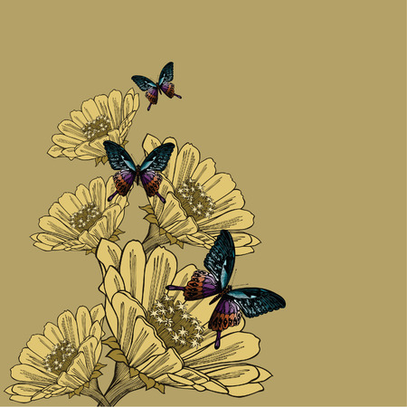 Background with flowers and butterflies, hand-drawing. Vector illustration. Иллюстрация