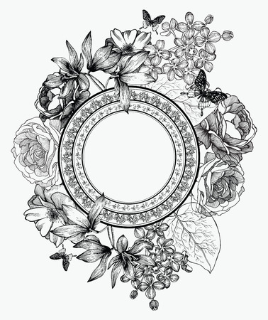 Black and white vector illustration. Frame with flowers and butterflies, hand-drawing.