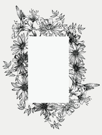 flora fauna: Black and white vector illustration. Frame with flowers, hand-drawing.
