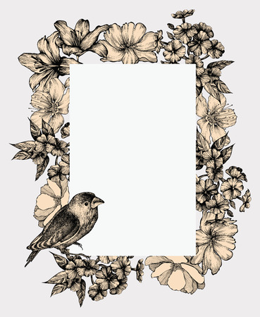 flora fauna: Vector illustration. Vintage frame with blooming flowers and birds, hand-drawing. Illustration