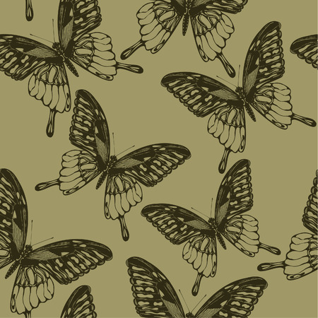 Seamless wallpaper with  butterflies, hand-drawing. Vector illustration.