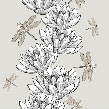 Seamless wallpaper with water lilies and dragonflies, hand-drawing. Vector Illustration.