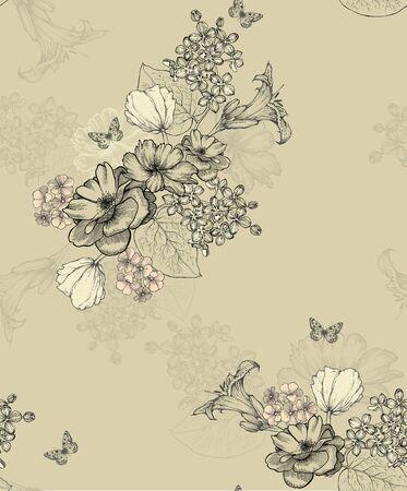 Seamless floral background, seamless wallpaper. Vector illustration. Иллюстрация