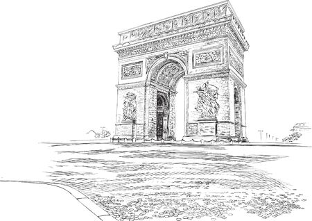 Arc de Triomphe Paris France, hand-drawing. Vector illustration.