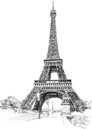 Eiffel Tower, Paris, France. Hand drawing, vector illustration.