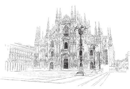 Catedral de Milán, dibujo a mano, ilustración vectorial. Ilustración de vector