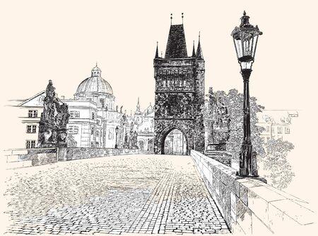 Prague, Charles Bridge, hand drawing, vector illustration.