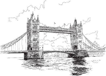 Tower Bridge in London, hand-drawing, vector illustration. 일러스트