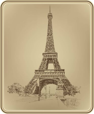 Eiffel Tower Paris France, hand drawing. Vector illustration.
