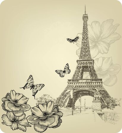 Vintage background with Eiffel Tower and roses. Hand drawing, vector illustration