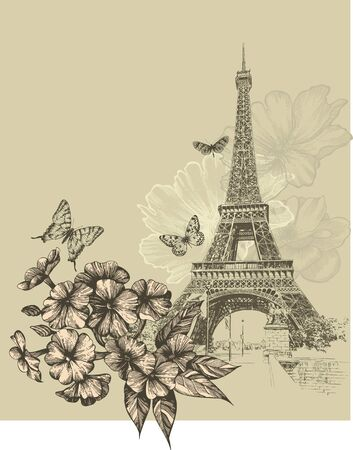 Vintage background with Eiffel Tower and blooming phlox. Hand drawing, vector illustration