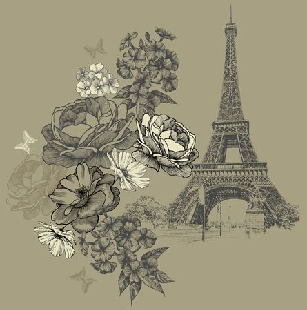 Eiffel Tower in Paris with flowers, vintage background. Hand drawing, vector illustration