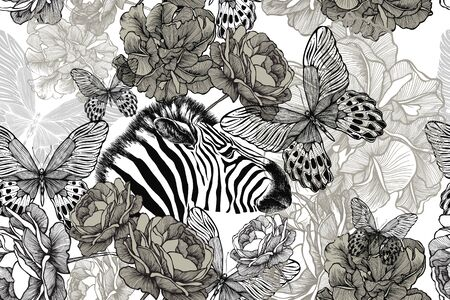 Zebra with flowers and butterflies. Seamless floral wallpaper. Hand drawing, vector illustration.