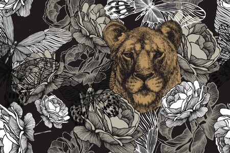 Lioness with roses and butterflies. Seamless floral wallpaper. Hand drawing, vector illustration