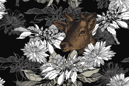 Hippotragus niger and floral seamless background with lilies. Hand-drawn, vector illustration. Illusztráció