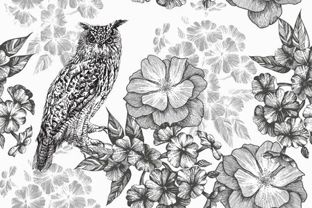Sitting owl and seamless floral pattern with phlox and roses. Hand-drawn, vector illustration.