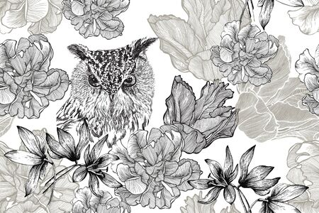 Bird owl and seamless floral background with tulips and scree. Hand-drawn, vector illustration.