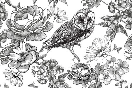 Bird owl and seamless floral background with roses and phloxes. Hand-drawn, vector illustration. Иллюстрация