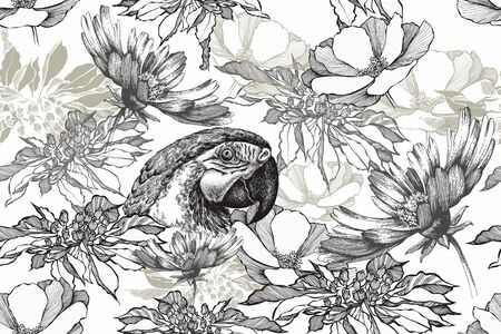 Floral seamless background with parrot and flowers. Black white, hand drawn, vector illustration Иллюстрация