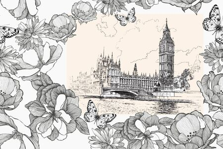 Big Ben and Houses of Parliament, Westminster, London. Seamless pattern with flowers. Vector Ilustração