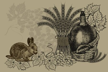 Vintage background with a bottle of wine, wheat ears, a rabbit and grapes. Vector illustration. Иллюстрация