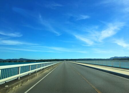 Driving through Kouri Bridge, Okinawa
