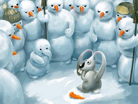 vendetta: Bunny thief. Funny illustration, winter theme, digital painting.