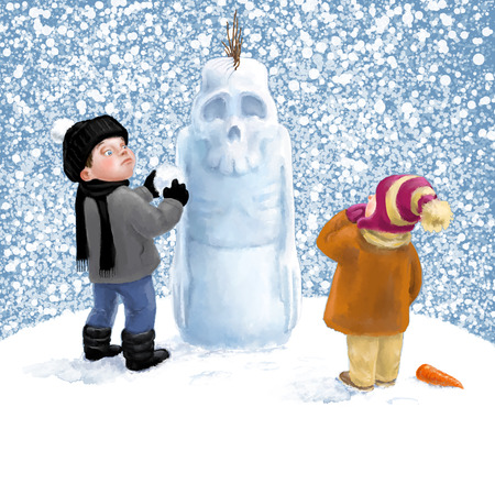 sculptor: The great sculptor. Children playing the snow. Digital illustration.