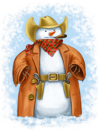 Snowcowboy. Funny illustration with a snowman that is dressed as the really cool cowboy.