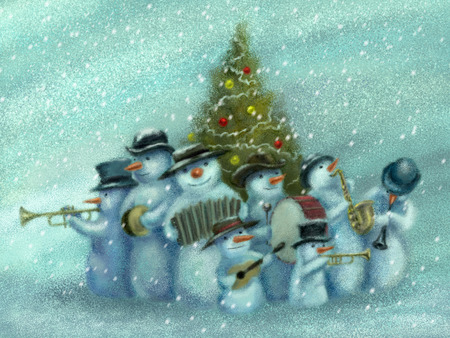 Snowmen jazz band. A snowmen jazz band is playing music, standing around the Christmas tree. Funny Christmas greeting card. Digital painting.