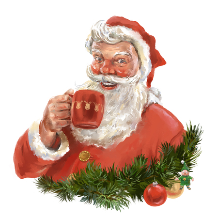 Santa Clause drinking a mug of some beverage. Greeting card style illustration. Stock Photo