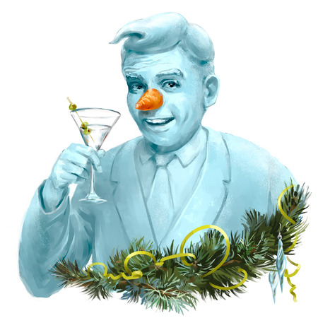 carrot nose: Snowman drinking Martini cocktail, looking like a real man with a carrot instead of his nose. Greeting card style illustration.