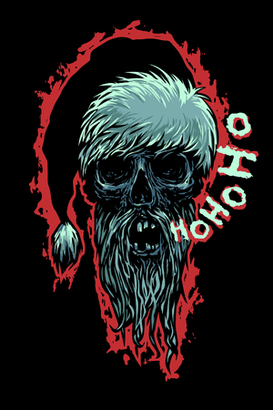 moroz: Dead Moroz says Ho-Ho-Ho! Bearded skull dressed like Santa Claus. Horror style vector illustration. Illustration
