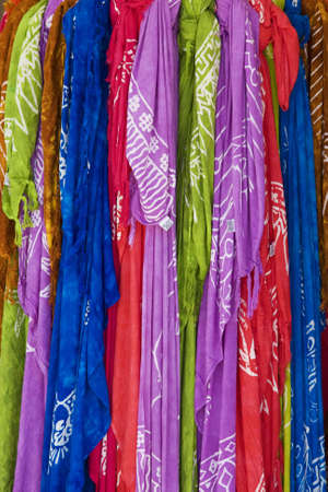 scarves: collection of colorful scarves Stock Photo