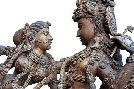 krishna: Statue en bois de dieu hindou Krishna
