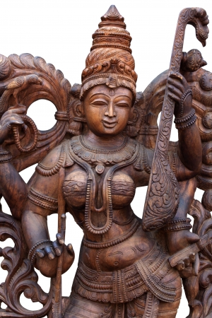 hindu goddess: wooden statue of Hindu goddess Saraswathi
