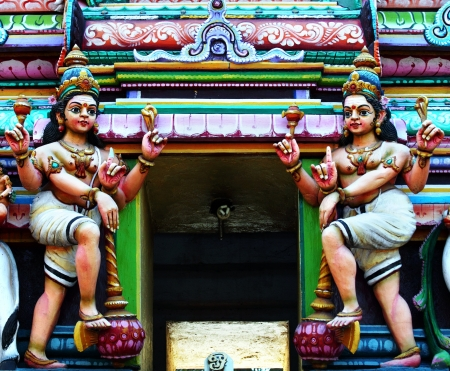 Hindu Temple Statues On a Temple Roof  Stock Photo