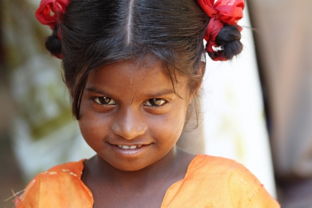 poor people: Smiling Indian Village Girl